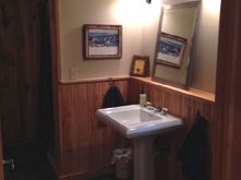 Bathroom pic at Remington cabin at Ruffed Grouse Lodge in Phillips Wisconsin