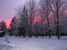 Winter sunset picture from Ruffed Grouse Lodge in Phillips Wisconsin