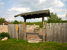 Garden gate at Ruffed Grouse Lodge in Phillips Wisconsin Price County WI Northwoods Resort
