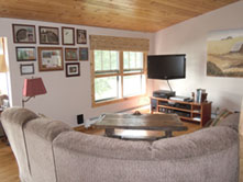 view of high definition flat screen tv at Ruffed Grouse Lodge in Phillips Wisconsin - resort for your vacation in the northwoods near grouse hunting and fishing, snowmobiling.